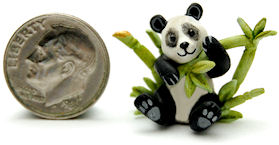PANDA TEDDY BEAR BAMBOO TEAPOT by WEE-OOAK-MINIATURES