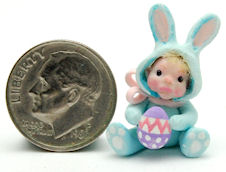 BABY CHILD DOLL RABBIT by WEE-OOAK-MINIATURES