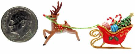 sleigh Rudolph christmas 3D WALL display by WEE-OOAK-MINIATURES