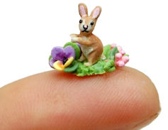 Tiny BABY BUNNY RABBIT FAIRY GARDEN BLOSSOM PATCH by WEE-OOAK-MINIATURES