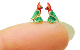 1/4 Scale PAIR FIGURAL PARROT ORNAMENTS SET by WEE-OOAK-MINIATURES