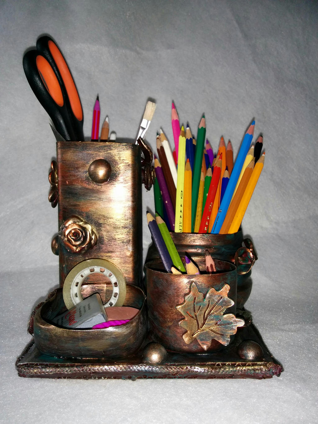 Recycled plastic bottles to make a pencil holder by ...
