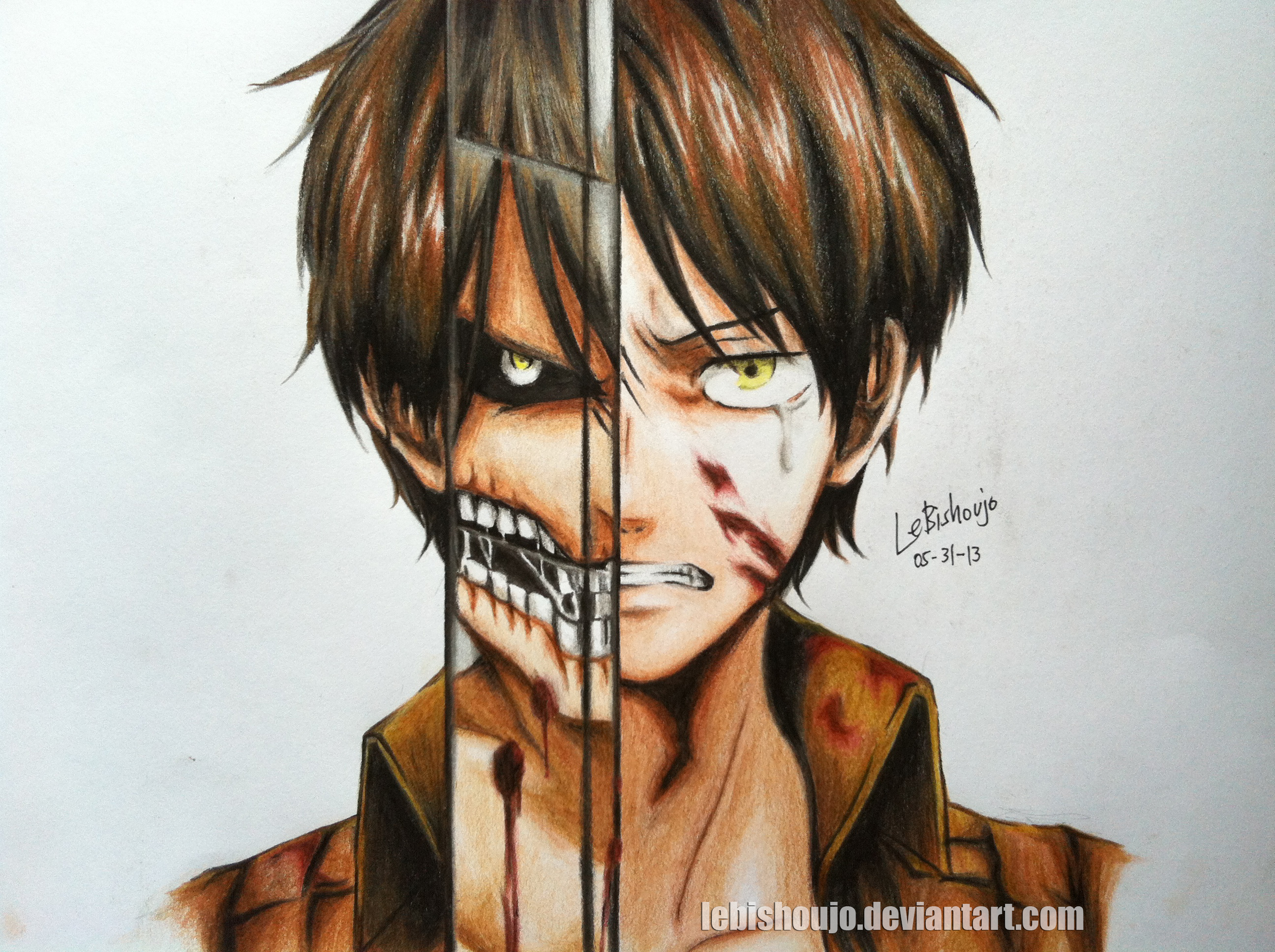eren jaeger by lebishoujo traditional art drawings people 2013 2015    Eren Jaeger Drawing
