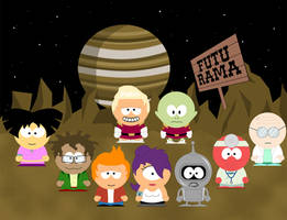 Futurama goes South Park by Rickulein