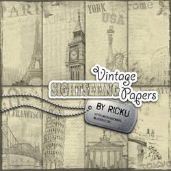 DIgital Scrapbooking - Vintage Sightseeing Papers by Rickulein