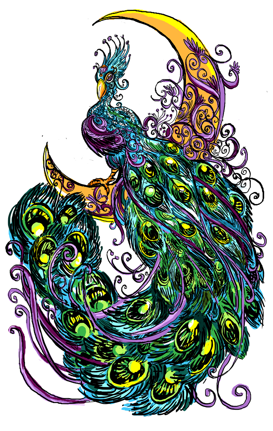 peacock tattoo design by rawyen on deviantart. Black Bedroom Furniture Sets. Home Design Ideas