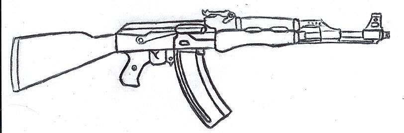 How To Draw An Ak 47 Rifle Gun Easy Free Step By Step
