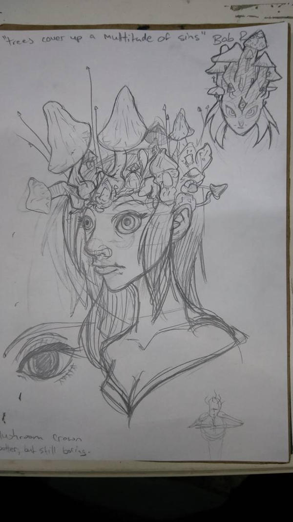 Mushroom Crown sketches 1 by wraithdragon