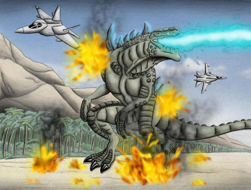 Godzilla vs Jets by chris-illustrator