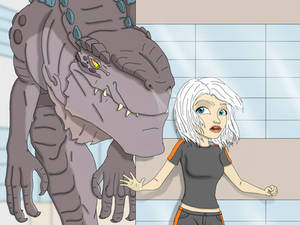 Godzilla vs Ginormica by chris-illustrator