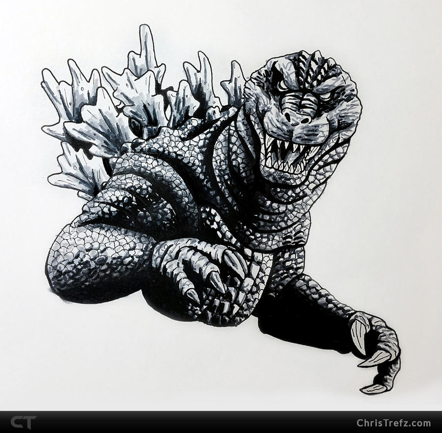 GMK Godzilla Sketch by chris-illustrator