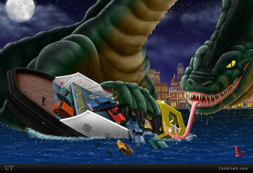 Commission: Loch Ness Monster by chris-illustrator