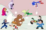 A huge snowball fight