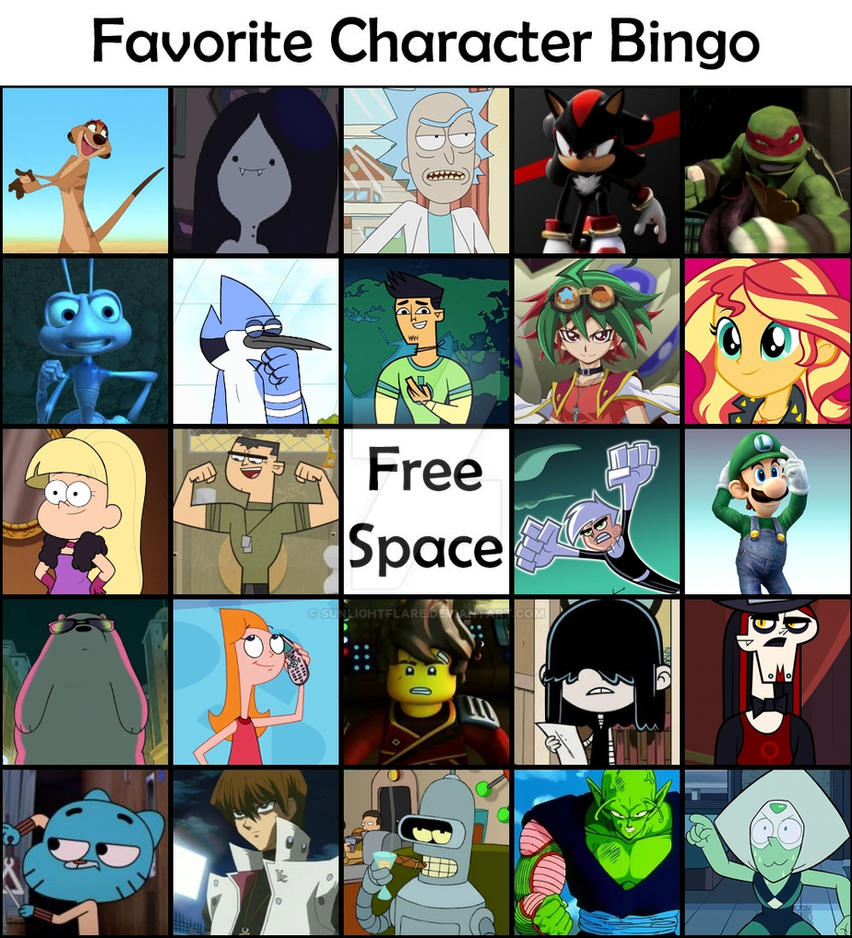 It is a graphic of Crazy Character Bingo Template