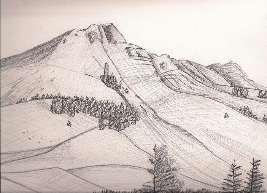 Mountain Drawing by Holly6669666