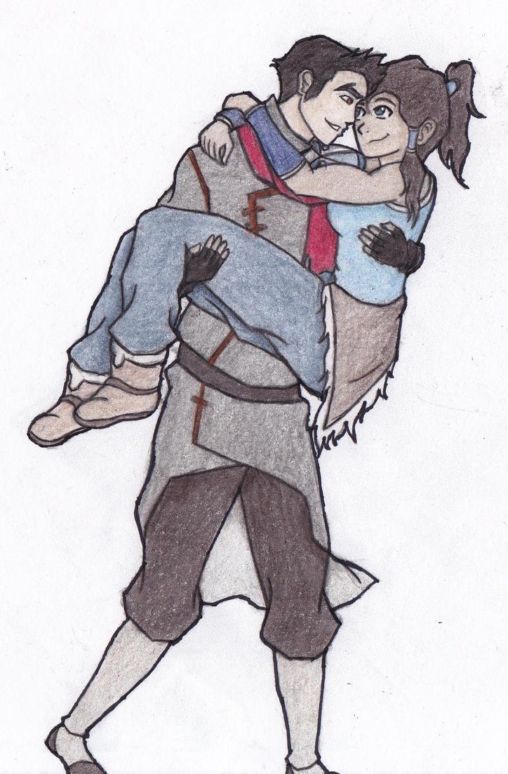Mako and Korra (colored) by 106Eli