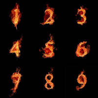 Fire Numbers Brushes by myszka011