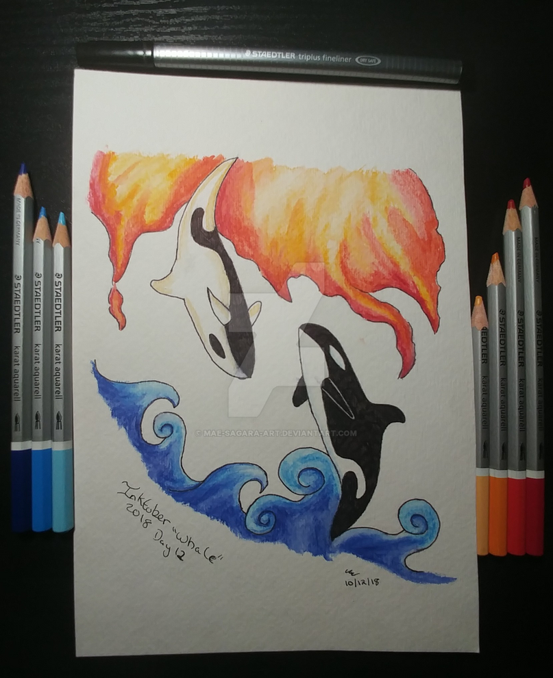 #Inktober Day 12 Whale by mae-sagara-art