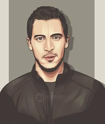 Eden Hazard on vector portrait by Ncepart