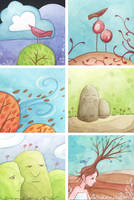 new mini watercolors by merwing