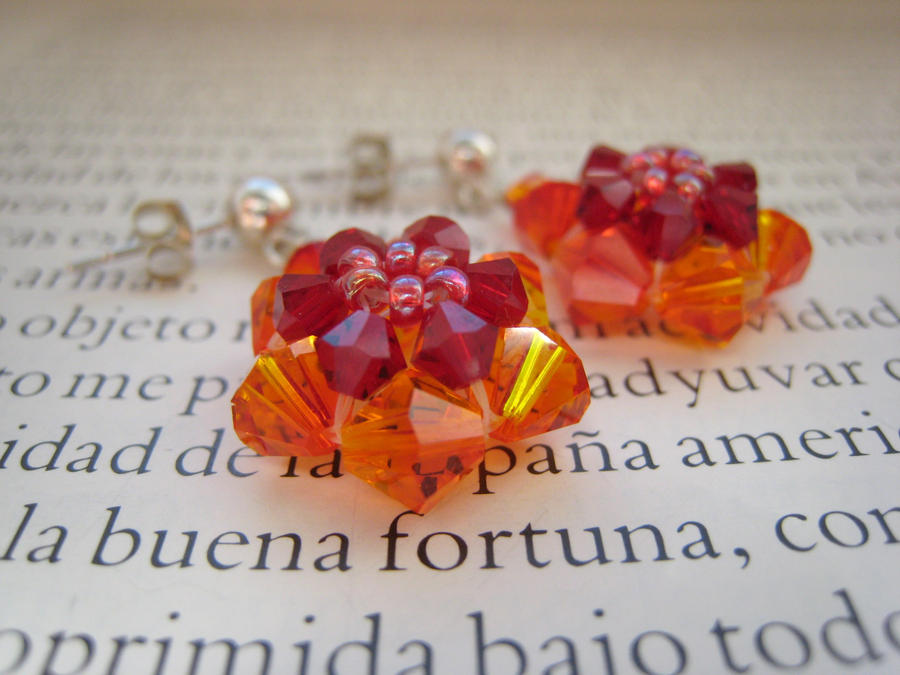 beaded crystal flower earrings by albitas on deviantart