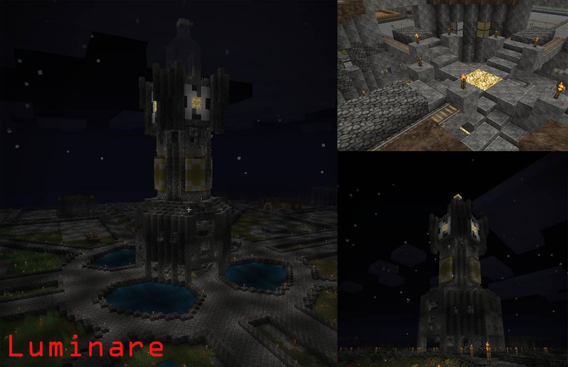Minecraft- Clock Tower-Rail Station by X-Luminare-X on