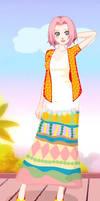 Sakura's long skirt outfit 1
