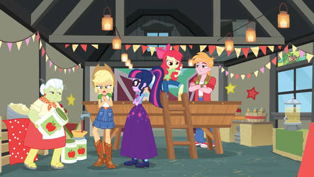 Twilight with a unhappy Applejack