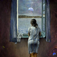 Young Woman at a Window Observing The Earth by Ewenftr
