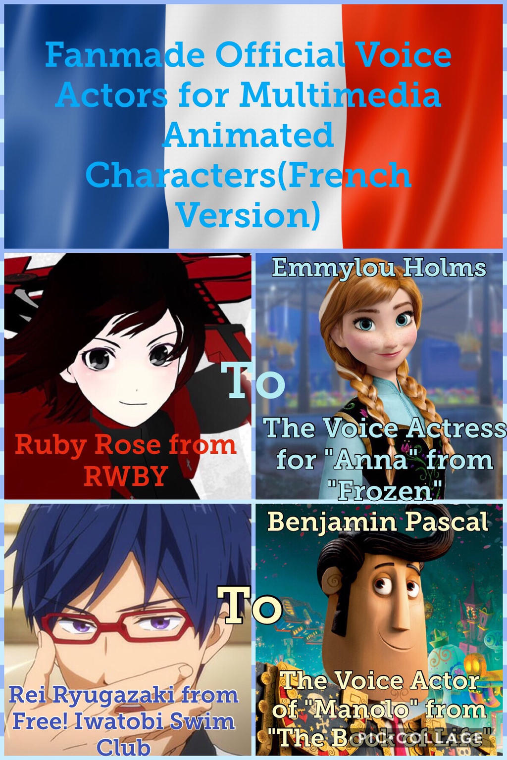 fandub french cast for animated characters by pinkchocolateheart44
