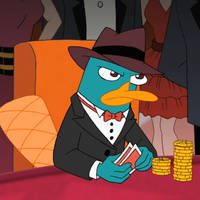 Perry the Platypus playing poker