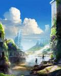 Stream between ruins