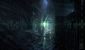 Batman - Arkham Origins: BLACK GATE HALLWAY by inetgrafx