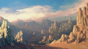 Speedpaint: Desert mountains by inetgrafx