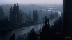 Speedpaint: Industrial city by inetgrafx