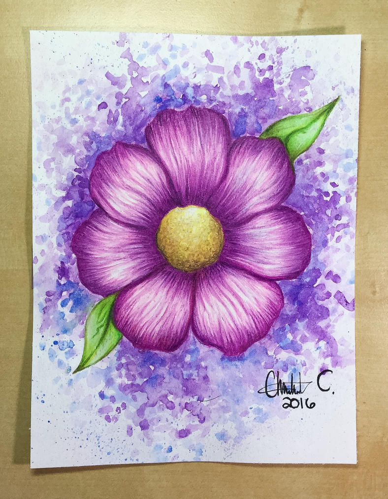 Watercolor Pencil Drawing of a Flower by Artistlizard101 ...