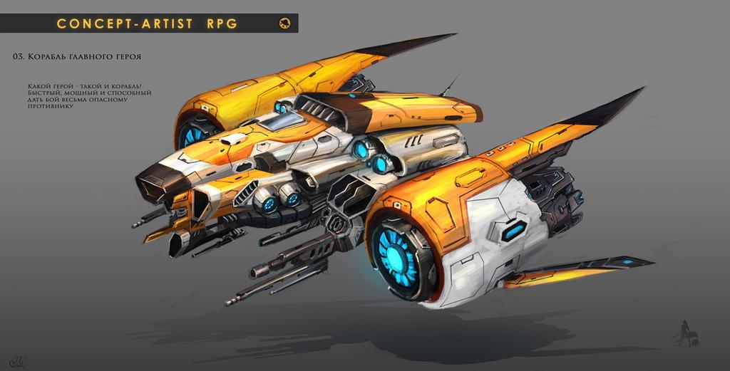 Concept Artist RPG Challenge 03. Sci-Fi Ship by Misava
