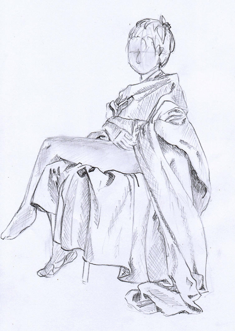 Sketch woman sitting by Mizuffy