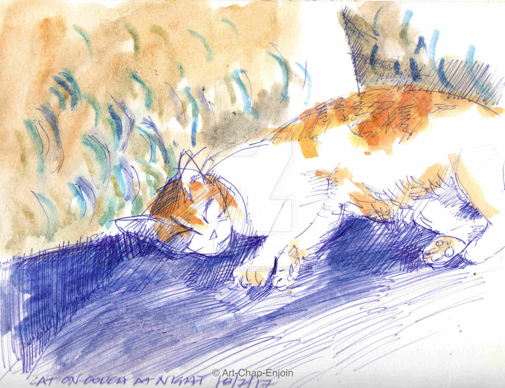#450 - Cat on couch at night by Art-Chap-Enjoin