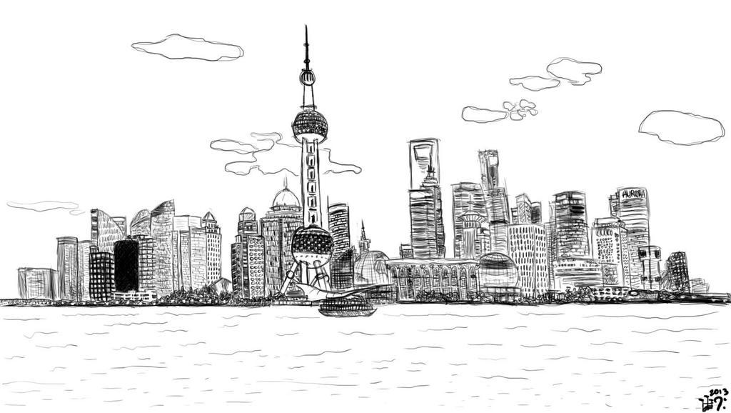 Shanghai Skyline Drawing Shanghai skyline 2 by rd0724
