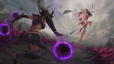 Syndra vs. Irelia by cheesewoo