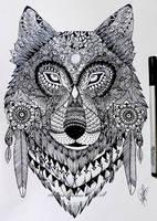 Zentangle wolf by itsalana