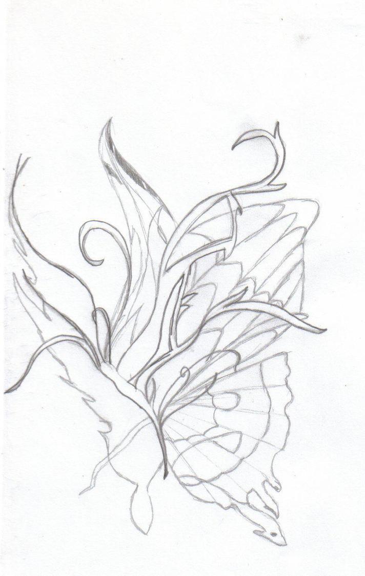 butterfly tattoo outline by robin rose sama on deviantart. Black Bedroom Furniture Sets. Home Design Ideas