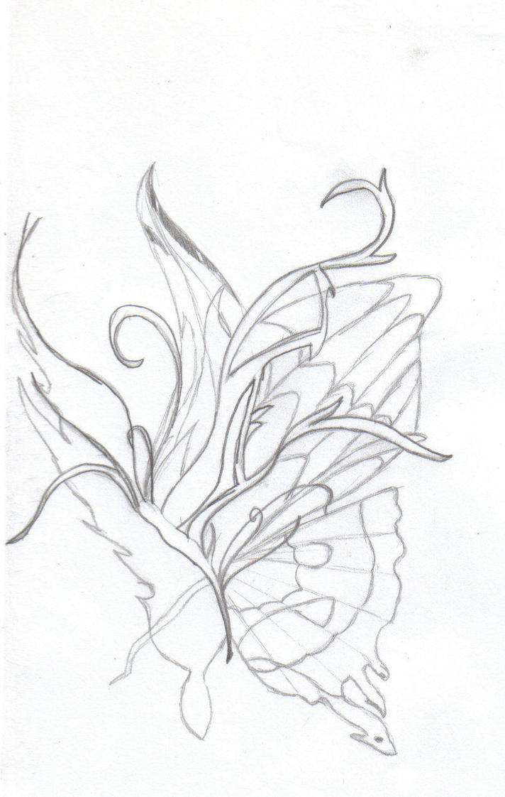 butterfly tattoo outline by robin rose sama on deviantart