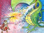 Robot Mage Battles Dragon