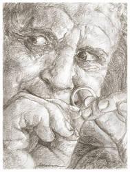 Sketchcard - The Birthday Present (Bilbo Baggins) by Dkelabirath