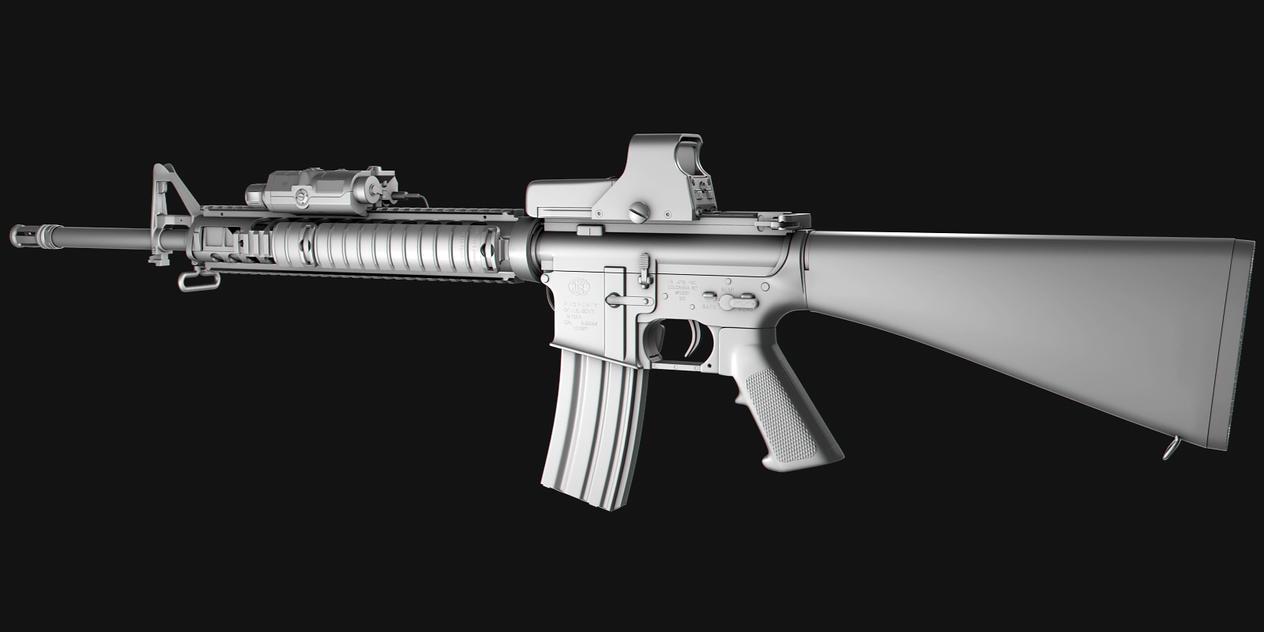M16A4 Assault Rifle: No texture 1 by NordlingArt on DeviantArt M16a4 Assault Rifle