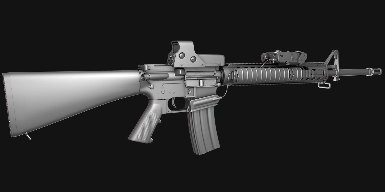 M16A4 Assault Rifle: No texture 2 by NordlingArt on deviantART M16a4 Assault Rifle