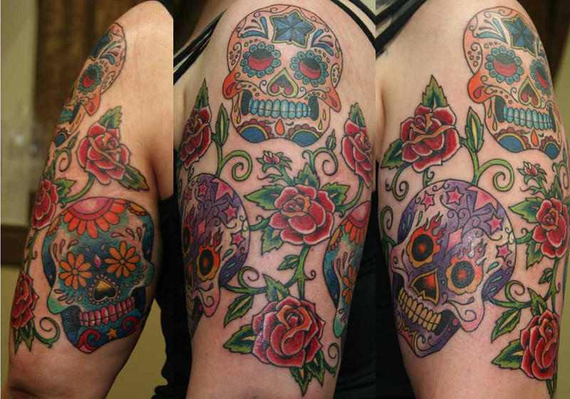 Sugar Skulls And Roses By Tattooedone On DeviantArt