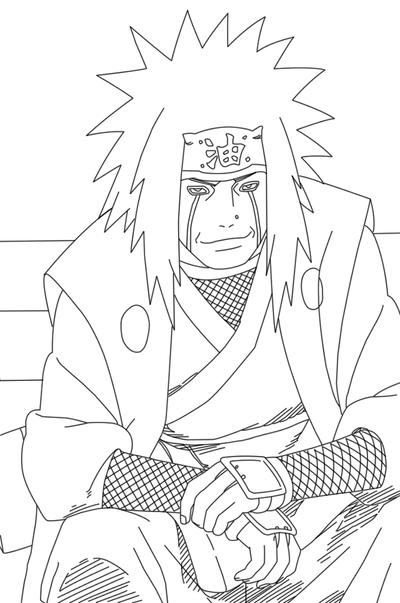 Jiraiya lineart by crypticriddlers on deviantart for Jiraiya coloring pages